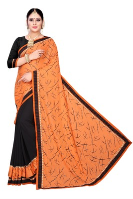 Orange printed lycra saree with blouse