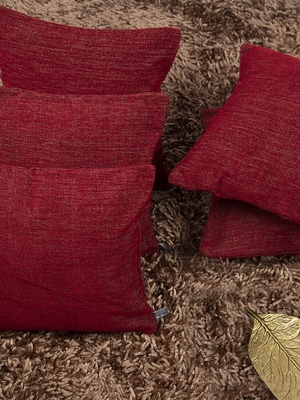 "Solid Textured Red Cushion Cover 12""x12"" (Set of 5)"