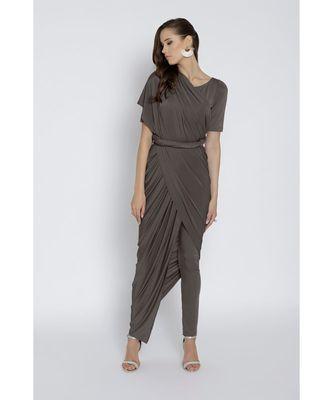 Grey Ready To Wear Saree Viscose Rayon saree