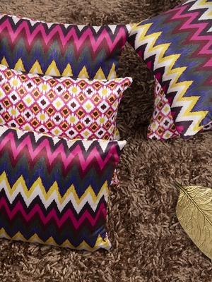 "Chevron Printed Reversible Cushion Cover 12""x12"" (Set of 5)"