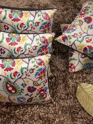 "Modern Paisley Printed Cushion Cover 12""x12"" (Set of 5)"