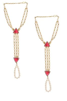 Multicolor american diamonds haath-phool-hath-panja