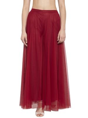Red plain Net palazzo pants