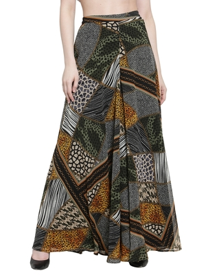 multicolor plain Georgette palazzo pants