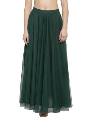 Green printed net skirts