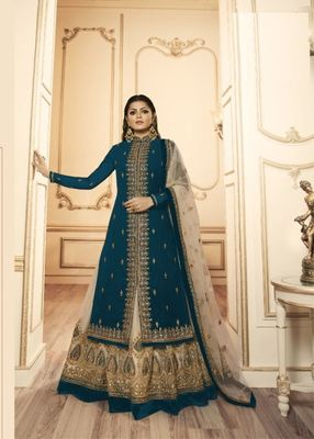 Turquoise embroidered georgette salwar