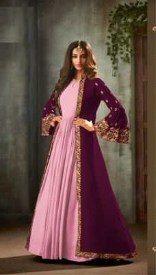 Wine embroidered georgette salwar