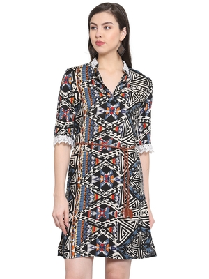 Multicolor plain rayon short-dresses