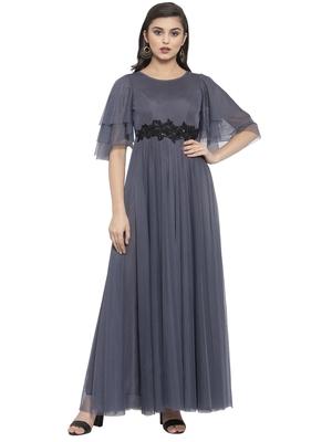 Grey plain net maxi-dresses