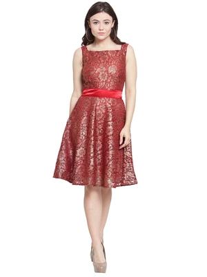 Maroon plain georgette short-dresses