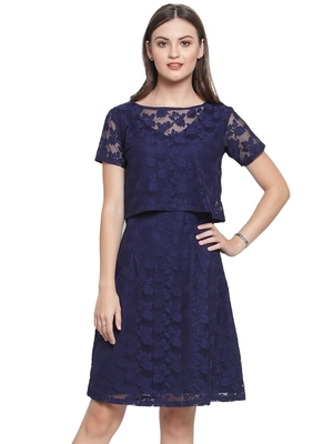 Blue plain georgette short-dresses