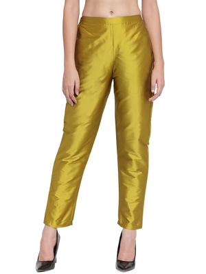 yellow plain silk blend trousers