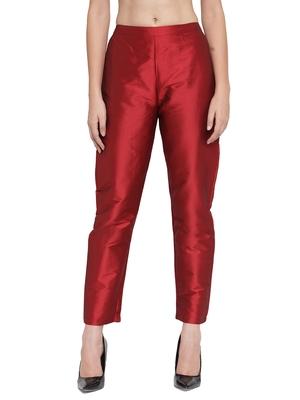 maroon plain silk blend trousers