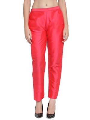pink plain silk blend trousers