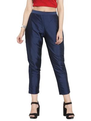 blue plain silk blend trousers