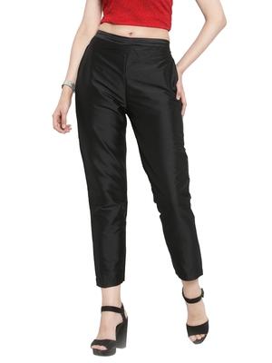 black plain silk blend trousers