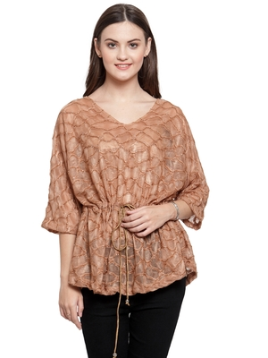 Brown printed Polyester tops