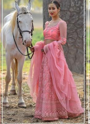 Pink plain  net unstitched lehenga