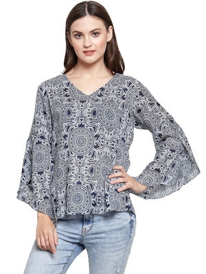 Blue printed Cotton tops