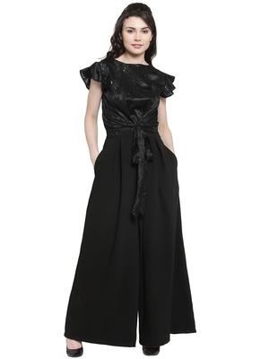 Black printed Polyester Jumpsuit