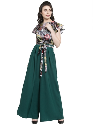 Green printed Polyester Jumpsuit