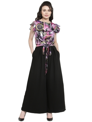 Black printed Polyester Jumpsuit