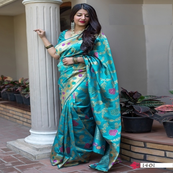 Light green woven banarasi silk saree with blouse