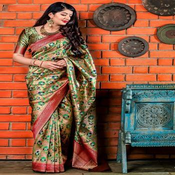 Silver woven banarasi silk saree with blouse