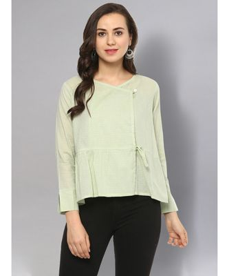 Sage Green Angrakha Top