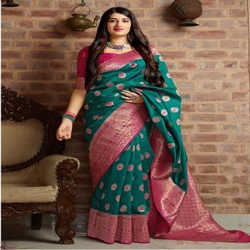 Green woven banarasi silk saree with blouse