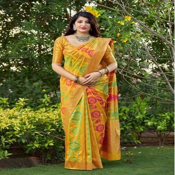 Yellow woven banarasi silk saree with blouse