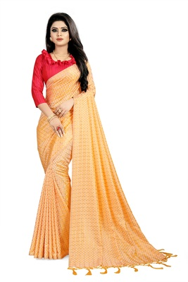 Yellow woven art silk saree with blouse