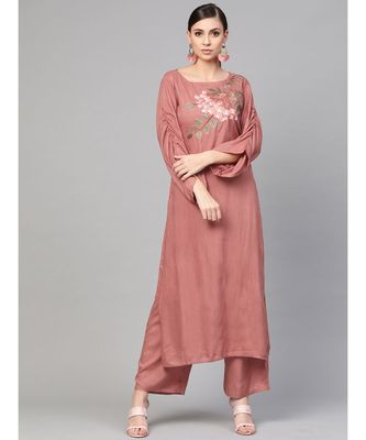 Rose Gold Embroided Straight Kurta With Palazzo Pants