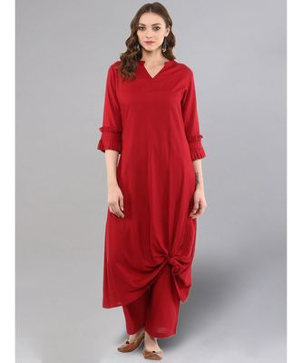 Maroon Knotted A-line Kurta With Palazzo Pants