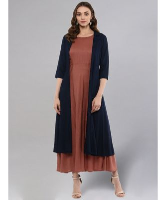 Rose Gold Layered Kurta With Blue Upper