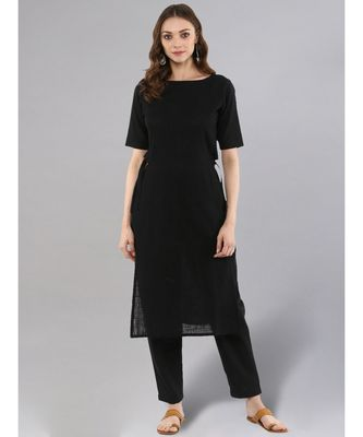 Black Straight Kurta With Pants