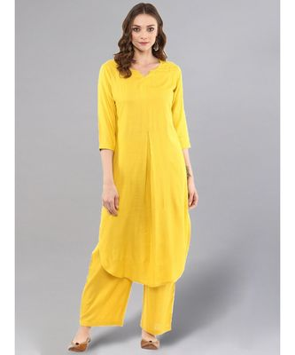 Lemon Yellow Kurta With Palazzo Pants