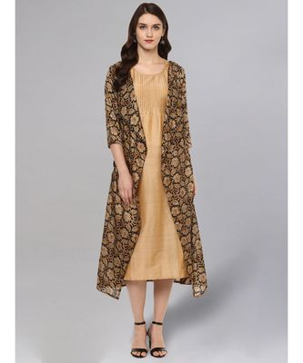 Solid Kurta With Printed Jacket