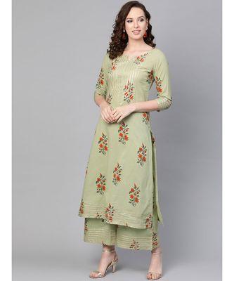 Sage Green Printed Cotton Kurta Set