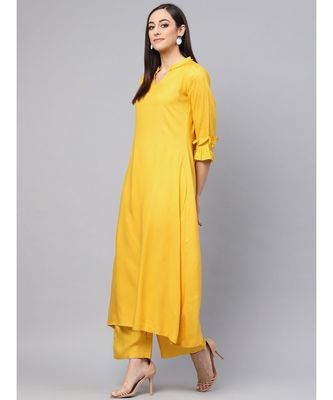 Lemon Yellow A-line Kurta With Palazzo Pants