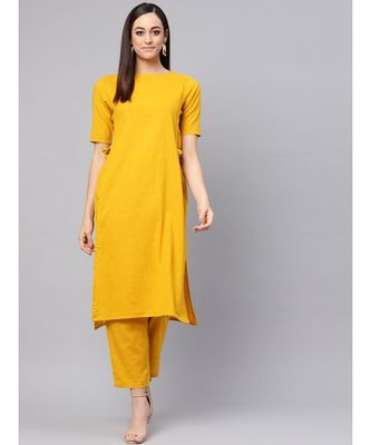 Mustard Color Straight Kurta With Pants