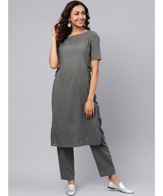 Grey Straight Kurta With Pants