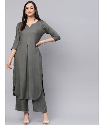 Grey Kurta With Palazzo Pants