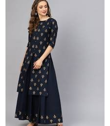 Printed Kurta With Navy Blue Skirt