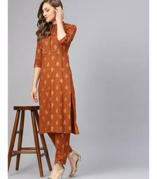Gold Print Kurta With Pants