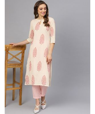 Hand Block Print Kurta With Cotton Pants