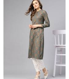 Grey Gold Print Kurta With Printed White Gold Pants