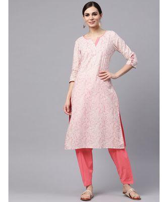 Baby Pink Printed Kurta With Salwar