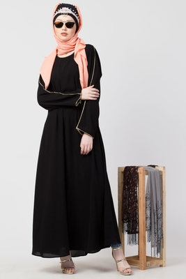Black plain casual abaya with piping in sleeves