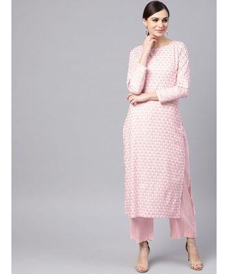 Baby Pink Printed Kurta Set